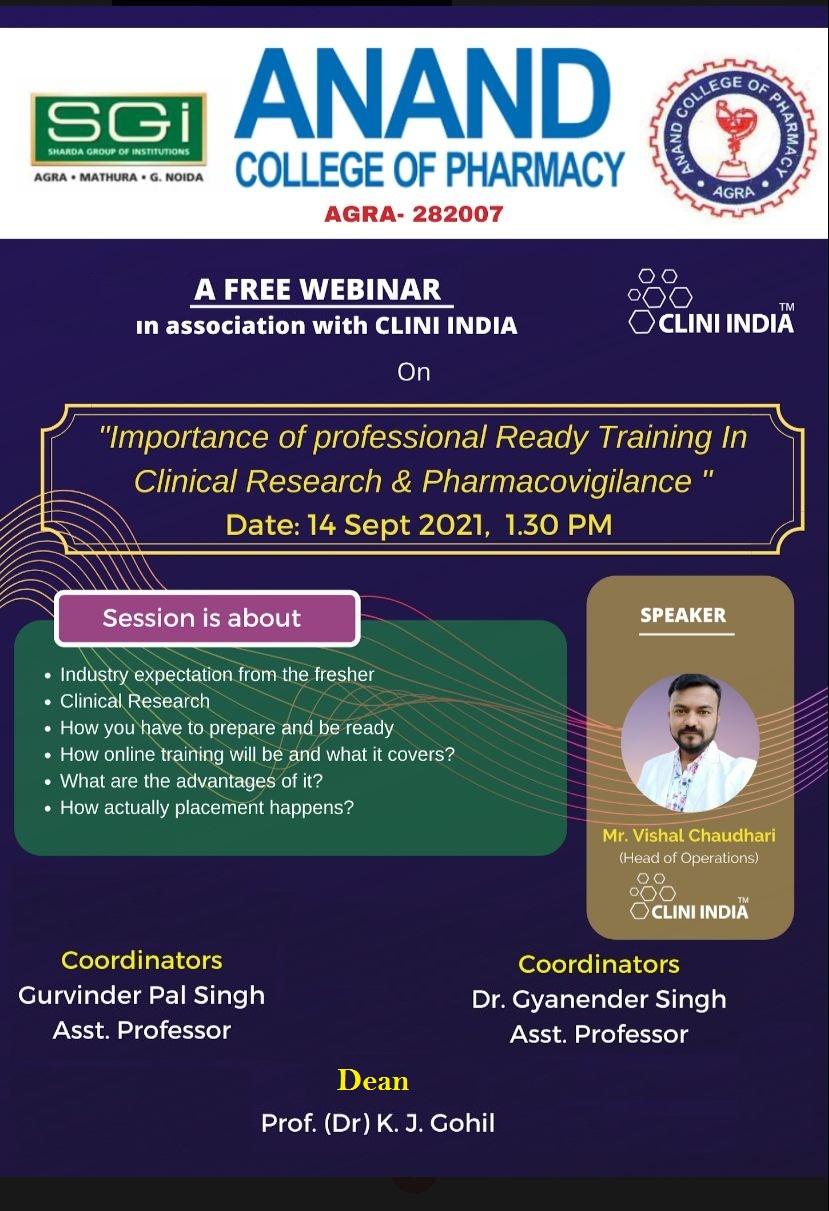 Profession ready training and placement in Clinical Research & Pharmacovigilance